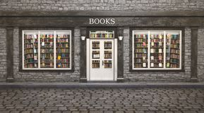 Book store exterior, 3d illustration Royalty Free Stock Images