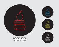Four colors book idea flat style lineart design vector illustration