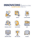 Book store - modern color vector single line icon set Royalty Free Stock Photo