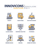 Book store - modern color vector single line icons set Royalty Free Stock Photo