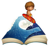 A book with a story about a surfer vector illustration