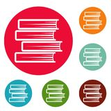 Book student icons circle set vector. Isolated on white background Stock Photos