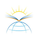 Book sun earth sunrays sunshine new light. vector illustration logo symbol. Book, sun, earth logo symbol symbolizing knowledge, light, hope, sunshine for the Stock Images