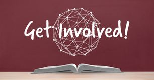 Book on the table against red blackboard with get involved text and education and school graphic Stock Image