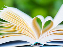 Book on table in garden. With top one opened and pages forming heart shape Stock Images