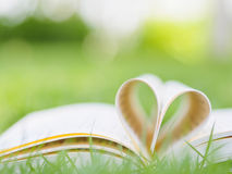 Book on table in garden. With top one opened and pages forming heart shape Royalty Free Stock Photo