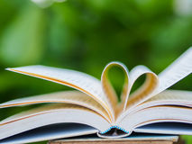 Book on table in garden. With top one opened and pages forming heart shape Stock Photography