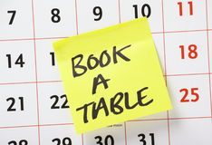 Book A Table Reminder Stock Image