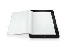 Book from Tablet Computer. Isolated on white background. 3D render Royalty Free Stock Images