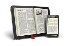 Book in tablet computer and smartphone Royalty Free Stock Images