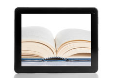 Book and tablet pc isolated on white background Royalty Free Stock Image