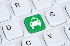 Book a taxi or cab online internet booking Stock Image