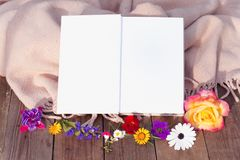 Book template with flowers. royalty free stock photo