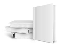 Book template with blank cover and pile of books Stock Photo