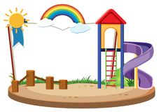 Book template with slide in the playground. Illustration Royalty Free Stock Photo
