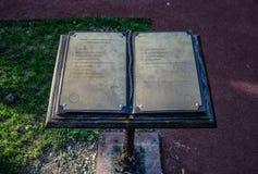 Book of thanks in the City Park of the city of Novorossiysk. Novorossiysk, Russia - September 29, 2018: Book of thanks in the City Park of the city of stock photography