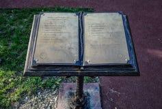 Book of thanks in the City Park of the city of Novorossiysk. Novorossiysk, Russia - September 29, 2018: Book of thanks in the City Park of the city of stock images
