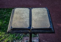 Book of thanks in the City Park of the city of Novorossiysk. stock images