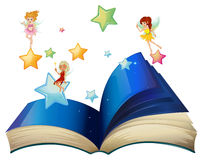 A book with three floating fairies. Illustration of a book with three floating fairies on a white background Stock Images
