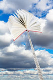 Book tied on rope soars into grey clouds Stock Photography