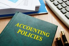 Book with title accounting policies. royalty free stock photography