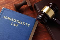 Book with title administrative law. Book with title administrative law on a table Royalty Free Stock Photography
