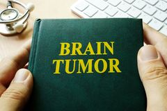 Book with title brain tumor. Stock Photos