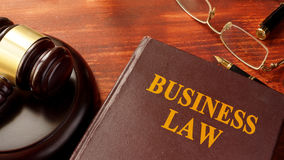 Book with title business law. stock photography
