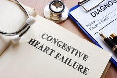 Congestive heart failure. Book with title congestive heart failure Stock Images