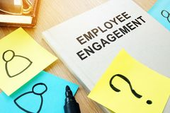 Book with title Employee engagement. Book with title Employee engagement on a desk Stock Photos