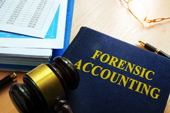 Book with title forensic accounting. Book with title forensic accounting on a table Stock Images