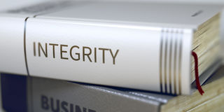 Book Title of Integrity. 3D. Stack of Business Books. Book Spines with Title - Integrity. Closeup View. Integrity - Book Title. Business - Book Title. Integrity royalty free stock photo