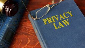Book with title Privacy Law. Stock Photos