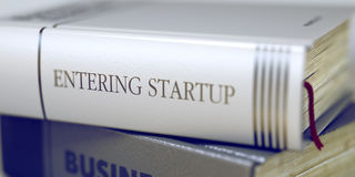 Book Title on the Spine - Entering Startup. 3D. Book in the Pile with the Title on the Spine Entering Startup. Entering Startup Concept on Book Title. Toned stock image