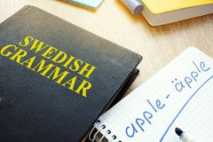 Book with title Swedish grammar. stock image