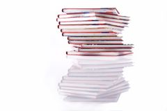 Book tower. Isolated books stack viewed from above, book tower stock photos