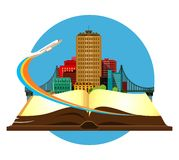 Book travel city. Vector illustration round emblem metropolis with a bridge on the open book of the aircraft taking off Stock Image