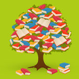 Book Tree. Book knowledge tree on green background Stock Photography