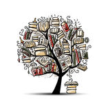 Book tree, sketch for your design Royalty Free Stock Photos