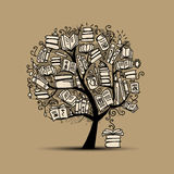 Book tree, sketch for your design Stock Photography