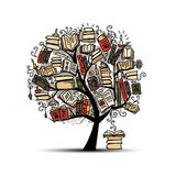 Book tree, sketch for your design Royalty Free Stock Image