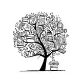 Book tree, sketch for your design Stock Photos