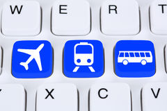 Book a trip travel online on internet with bus, airplane or trai Stock Photo