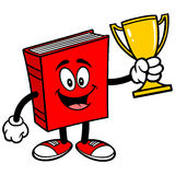 Book with Trophy. Cartoon illustration of a Book with Trophy Royalty Free Stock Photography