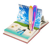Book with a tropical beach Royalty Free Stock Photos