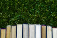 Book tutorials are on the green grass stock photos