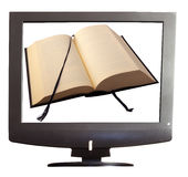 Book on tv Royalty Free Stock Photo