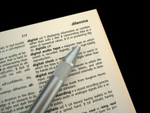 Book Two. Closeup of dictionary on black background royalty free stock photo