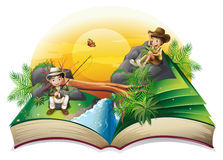 A book about two explorers. Illustration of a book about two explorers on a white background Royalty Free Stock Images