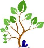 Book under a tree. An illustration a boy reading a book under a tree vector illustration